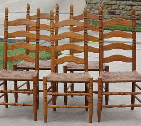 Staining Outdated Oak Ladder Back Chairs in Walnut Hometalk