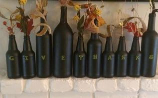 thanksgiving decorations new ideas, basement ideas, halloween decorations, home decor, seasonal holiday decor, thanksgiving decorations, Chalkboard spray paint your used wine bottles