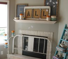 fall fireplace mantel eclectic upcycled, fireplaces mantels, seasonal holiday decor