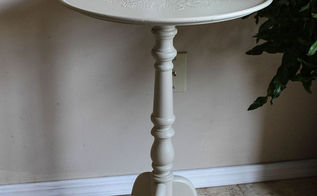 painted furniture side table white redo, outdoor living, painted furniture