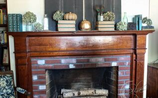 fall mantel dried hydrangeas, fireplaces mantels