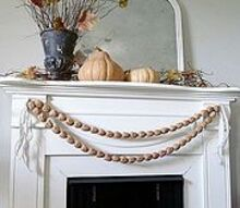 fall mantel with walnut garland, seasonal holiday decor