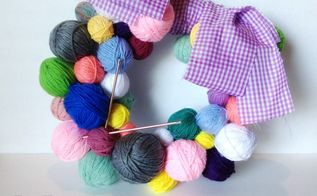 how to knitting ball wreath craft, crafts, repurposing upcycling, wreaths, Frugal gifts make you think I love it