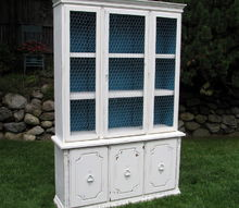 updating old hutch with white paint chicken wire, painted furniture, repurposing upcycling, shabby chic
