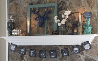 fall mantel decor using turquoise, fireplaces mantels, seasonal holiday decor