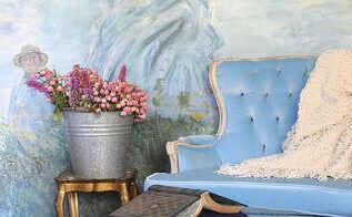 footstool makeover diy velvet, chalk paint, painted furniture, shabby chic, reupholster