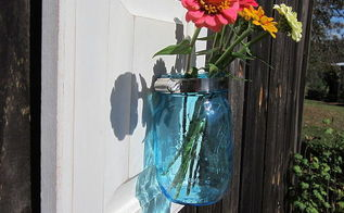 upcycle cabinet door into mason jar wall vase, mason jars, repurposing upcycling