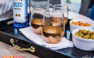 how to make gold dipped bar glasses, crafts, seasonal holiday decor