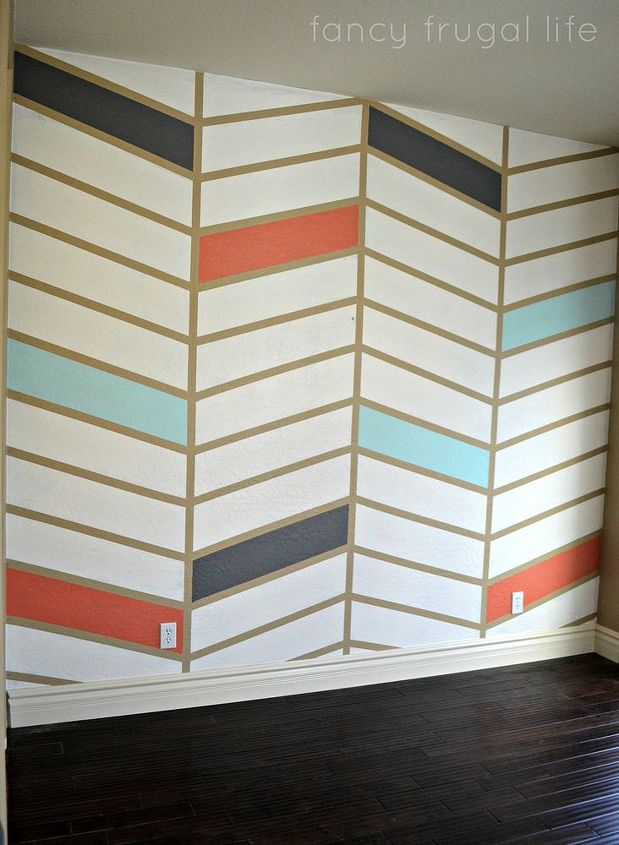 Diy Herringbone Pattern Accent Wall Using Tape Hometalk