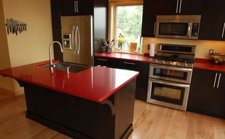 striking red vanite by vangura, countertops, kitchen design