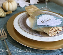blue and gold thanksgiving table decor, crafts, seasonal holiday decor, thanksgiving decorations