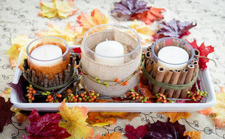 easy fall candle centerpiece how to, crafts, decoupage, seasonal holiday decor