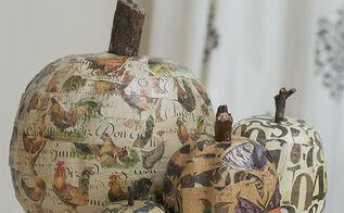 how to mod podge fake pumpkins, decoupage, seasonal holiday decor