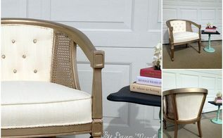 barrel cane chair makeover with painted fabric, diy, painted furniture, painting, reupholster