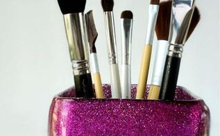 how to make a glitter brush organizer using mod podge, crafts, decoupage, how to, organizing