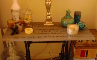 vintage sewing machine base to table makeover, painted furniture, repurposing upcycling, woodworking projects