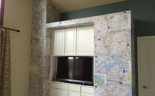 atlas accent wall using old maps, home decor, repurposing upcycling, wall decor