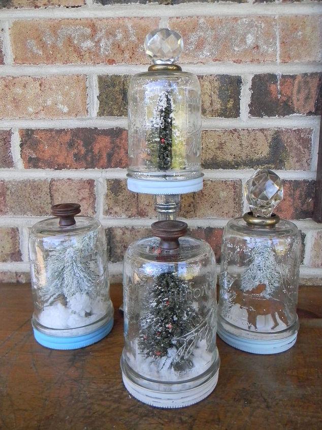 How to make mason jar snow globes hometalk for Christmas glass jars