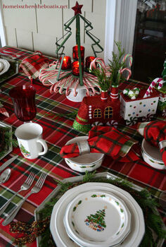 christmas table decor with candy canes trains, christmas decorations, seasonal holiday decor