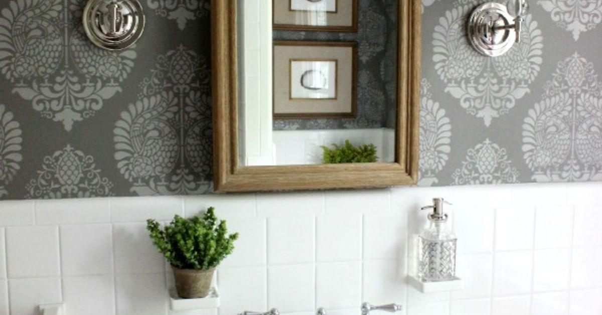 powder room makeover idea using a stencil   hometalk