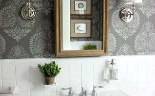 powder room makeover idea using a stencil, bathroom ideas, diy, home decor, painting, wall decor
