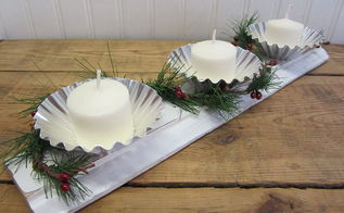 vintage jello tins and salvaged wood molding candle hodlers, christmas decorations, repurposing upcycling, seasonal holiday decor