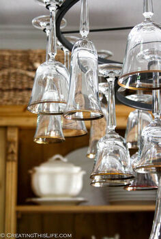 how to mak a wine glass chandelier, lighting