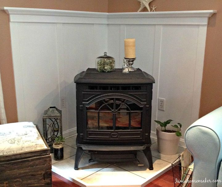 How to make a pellet stove mantle hometalk for Building a corner fireplace