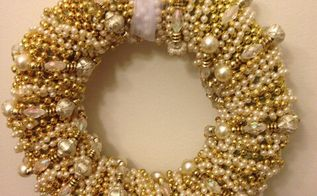 how to make a gold bead christmas wreath, crafts, wreaths