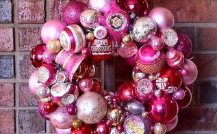how to make a knockoff pink vintage ornament wreath, christmas decorations, crafts, seasonal holiday decor, wreaths