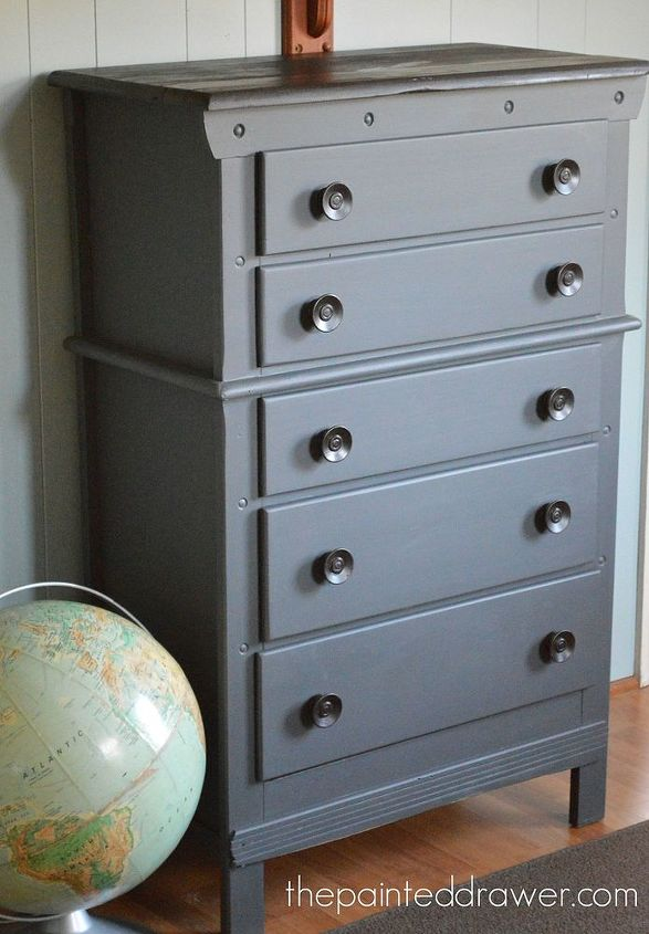 Vintage Dresser Makeover Idea Using Gel Stain Painted Furniture
