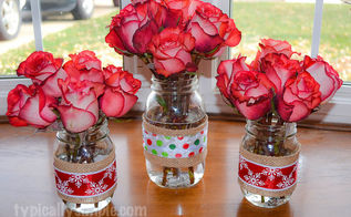 how to make mason jar vases for the holidays, crafts, mason jars, seasonal holiday decor