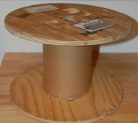 diy vintage fur ottoman from an old cable spool diy painted furniture repurposing
