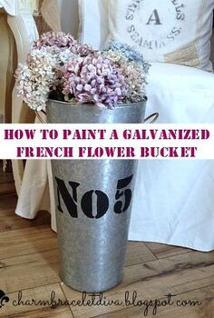 how to paint and stencil a galvanized french flower bucket, crafts, home decor, painting