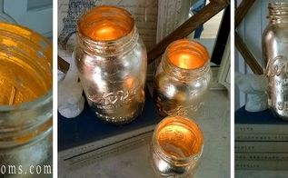 how to make gold covered mason jar candles, crafts, diy, mason jars