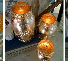 how to make gold covered mason jar candles crafts diy mason jars little mushrooms