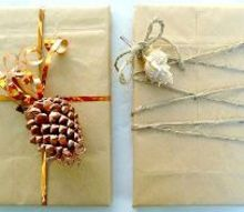 simple gift wrapping ideas with shells pine cones greenery, christmas decorations, seasonal holiday decor, Brown Grocery Bag Gift Wrapping Ideas