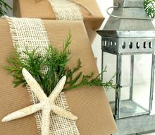 simple gift wrapping ideas with shells pine cones greenery, christmas decorations, seasonal holiday decor, Brown Paper and Burlap Ribbon Gift Wrap