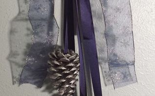 hanukkah swag with sparkly ribbon and silver pinecones, crafts, seasonal holiday decor, Silver pinecones are pretty