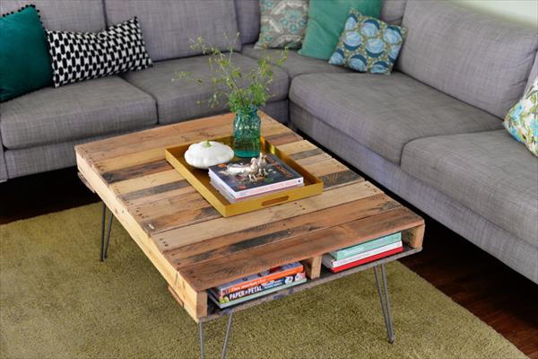 Pallet Coffee Table With Metal Hairpin Legs Diy Hometalk