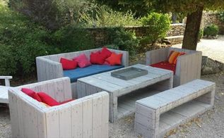 how to build pallet furniture for patio, diy, outdoor furniture, painted furniture, pallet, repurposing upcycling, reupholster