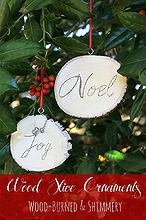 rustic wood slice ornaments, christmas decorations, crafts, seasonal holiday decor