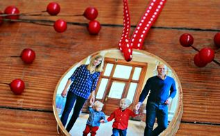 how to make birch coaster photo ornaments, christmas decorations, crafts, seasonal holiday decor