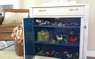thrift store makeover lego storage idea, painted furniture, storage ideas