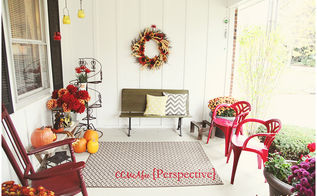 fall porch and plastic chair placement idea, outdoor furniture, painted furniture