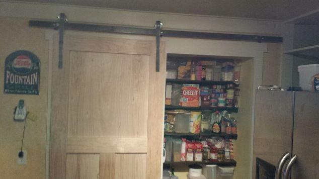 how to build a pantry barn door hometalk. Black Bedroom Furniture Sets. Home Design Ideas