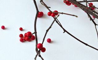 easy diy winterberry branches for christmas, christmas decorations, crafts, seasonal holiday decor