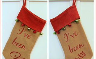 how to make a naughty nice burlap stocking, christmas decorations, crafts, seasonal holiday decor