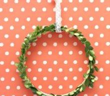 simple boxwood wreath using an embroidery hoop, crafts, wreaths