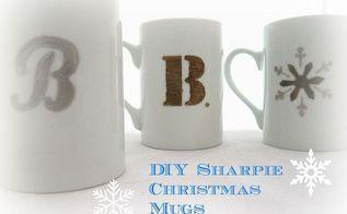 diy sharpie christmas mugs cute gift idea, christmas decorations, crafts, painting, seasonal holiday decor
